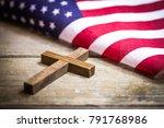 a holy wooden christian cross... | Shutterstock . vector #791768986