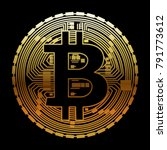 bitcoin icon on black... | Shutterstock .eps vector #791773612