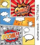 retro comic  speech bubbles set ... | Shutterstock .eps vector #791776156
