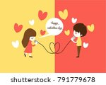 cute couple playing rope phone...   Shutterstock .eps vector #791779678