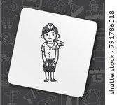 flight attendant doodle | Shutterstock .eps vector #791786518