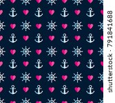 seamless marine pattern with... | Shutterstock .eps vector #791841688