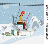 young woman with skis is...   Shutterstock .eps vector #791857225