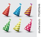 party hat isolated set on... | Shutterstock . vector #791859646