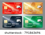 realistic detailed credit cards ... | Shutterstock . vector #791863696
