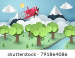 paper art of pink plane flying... | Shutterstock .eps vector #791864086