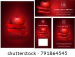 set of polygonal red heart adn ... | Shutterstock .eps vector #791864545