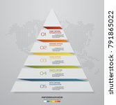 5 steps pyramid from paper with ... | Shutterstock .eps vector #791865022