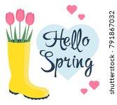 beautiful tulips in rubber... | Shutterstock .eps vector #791867032