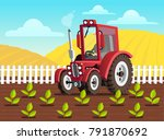 red tractor on the field.... | Shutterstock .eps vector #791870692