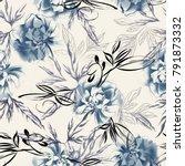 watercolor peonies seamless... | Shutterstock . vector #791873332