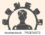silhouette of a womans head in... | Shutterstock .eps vector #791876572