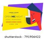 open mic night template for... | Shutterstock .eps vector #791906422