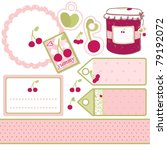 set of labels for cherry jam | Shutterstock .eps vector #79192072