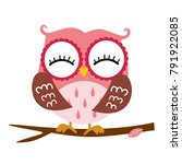 pink owl sitting on a branch.... | Shutterstock .eps vector #791922085