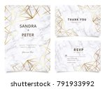 marble wedding invitations set  ... | Shutterstock .eps vector #791933992
