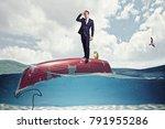 businessman on boat upside down ...   Shutterstock . vector #791955286