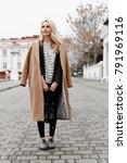 beautiful young stylish blonde... | Shutterstock . vector #791969116