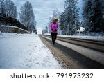 blondie female running outside... | Shutterstock . vector #791973232