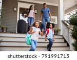 family with luggage leaving... | Shutterstock . vector #791991715