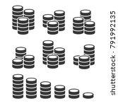 coins stack icons set on white... | Shutterstock .eps vector #791992135