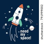 need my space slogan graphic... | Shutterstock .eps vector #791999002