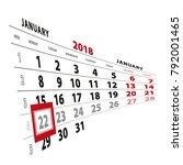 22 january highlighted on... | Shutterstock .eps vector #792001465