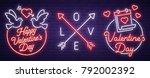 set neon logo  label  emblem.... | Shutterstock .eps vector #792002392