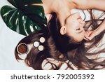 young long haired girl enjoying ...   Shutterstock . vector #792005392