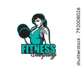 weightlifting female fitness... | Shutterstock .eps vector #792008026