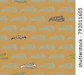 seamless pattern with rustic... | Shutterstock .eps vector #792011605