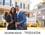 portrait of business couple... | Shutterstock . vector #792014236