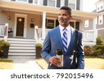 businessman with cup of coffee...   Shutterstock . vector #792015496