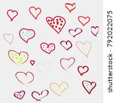 hearts drawn by hand for... | Shutterstock .eps vector #792022075