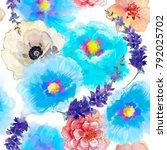 seamless wallpaper with... | Shutterstock . vector #792025702