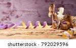 golden carnival mask banner... | Shutterstock . vector #792029596