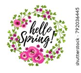 vector illustration  floral... | Shutterstock .eps vector #792036445