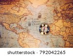 columbus day and world map with ... | Shutterstock . vector #792042265