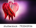 four large heart shaped red... | Shutterstock . vector #792043936