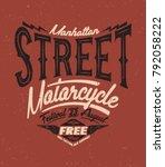 motorcycle rider typography  t... | Shutterstock .eps vector #792058222