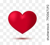 soft red heart with transparent ... | Shutterstock .eps vector #792067192