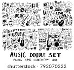 set of music hand drawn doodle...   Shutterstock .eps vector #792070222