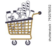 supermarket shopping cart with... | Shutterstock .eps vector #792078352