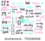 hand drawn sticker set for... | Shutterstock .eps vector #792080008