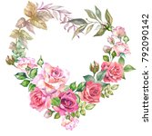 vintage flowewatercolorrs frame. | Shutterstock . vector #792090142