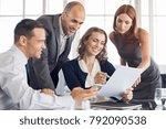 happy businesspeople working...   Shutterstock . vector #792090538