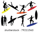 Surfing Silhouettes Isolated O...