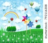 spring landscape with pinwheels ... | Shutterstock .eps vector #792116308