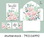 wedding set with invitations... | Shutterstock .eps vector #792116992