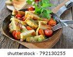 fried swabian meat ravioli  so... | Shutterstock . vector #792130255